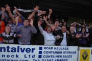 Salisbury fans celebrate their promotion from Southern Premier in 2011 with a dramatic penatly shootout win over Hednesford Town