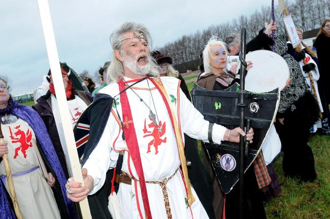 King Arthur Pendragon at a previous protest against Stonehenge's visitors' centre