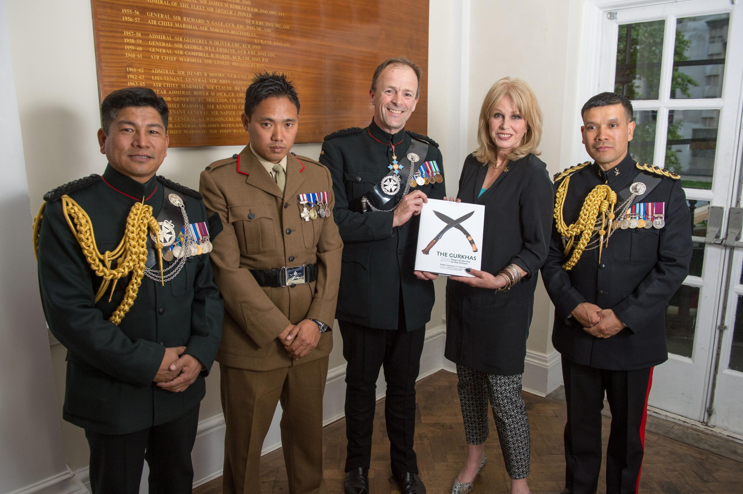 Maj Gen Lawrence (centre) with Joanna Lumley, Sergeant Dipprasad Pun CGC (second left) and the Queen's Gurkha Orderly Officers during the London launch of The Gurkhas 200 Years of Service to the Crown