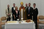 The Rev Canon Tom Clammer, Cllr Carl Davis Laverstock Parish Council, Frances Wain Chair of Governors, The Bishop of Salisbury the Rt Revd Nicholas Holtam , Cllr David Law Laverstock Parish Council, Paul German Headteacher, Louis Cotterell Headboy. (40405