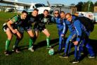 (L-R) Rugby players Jonathan Kay, Luke Esnouf and Liam Gilbert get ready to scrum with GoSkydive instructors Lee Crudington, Henk Post and Michael French (40576293)