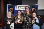 Author C J Daugherty pictured with pupils during a special visit to St Edmund's Girls' School (40778452)
