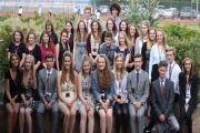 The 2015-16 Ringwood School Sixth Form Leadership Team with Head Boy Sam Whittingham and Head Girl Jade Wardle.