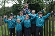 Principal Matt Sambrook with pupils