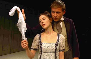 Emma Hamilton as Isabella Thorpe and Ben Righton as Frederick Tilney and James Moreland. DB2759P2