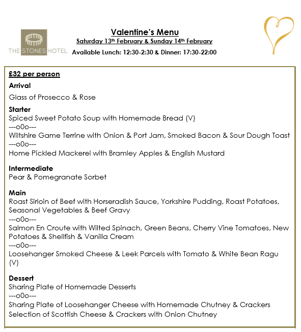 Valentines at The Stones Hotel