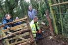 Volunteers put the finishing touch to the kissing gate on the Alderbury Path (55027415)