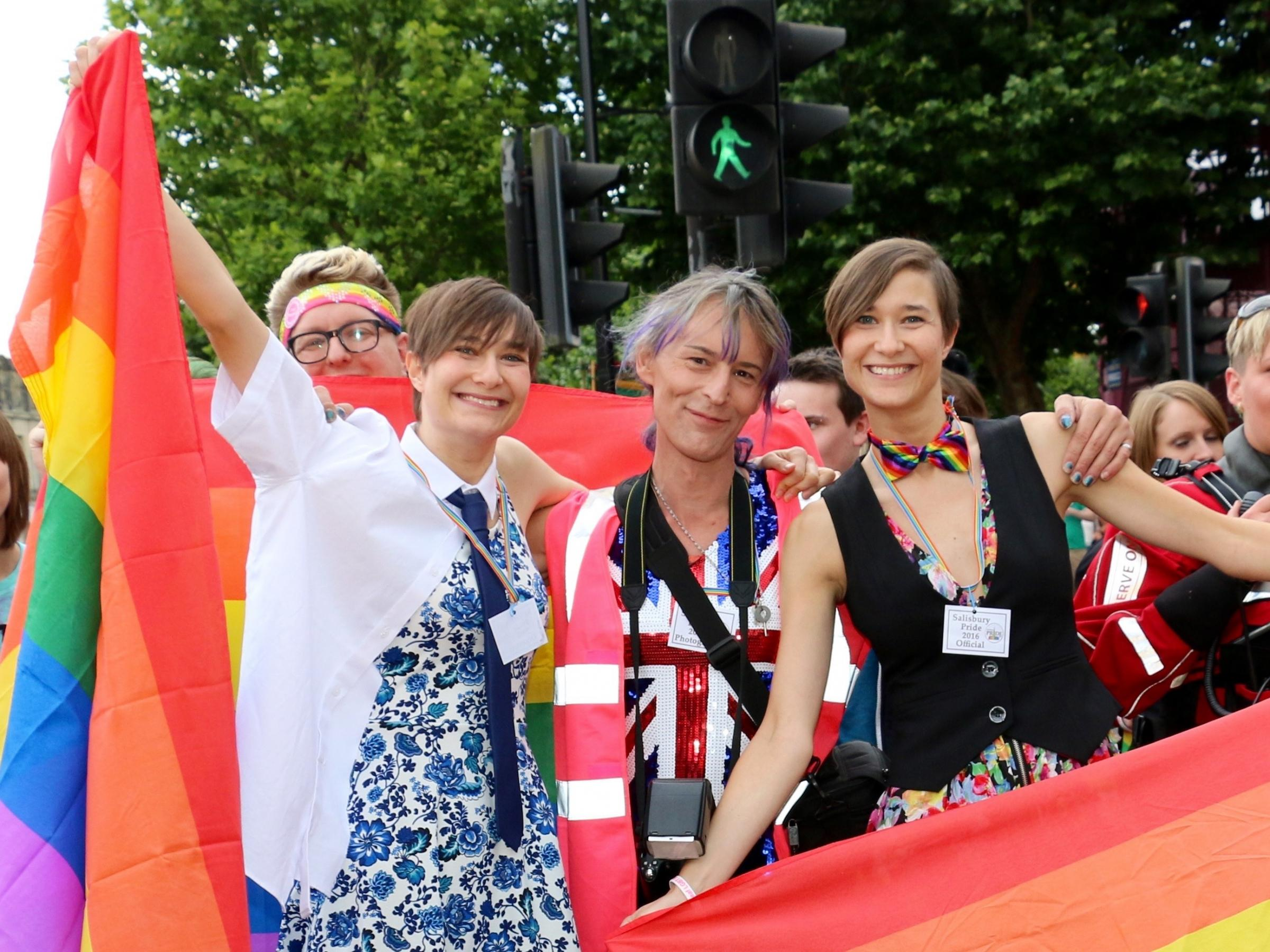 Gabriel Tinto (pictured, centre, at Salisbury Pride 2016) was found dead in the Hulse Road area of Salisbury on Wednesday morning. Picture by Spencer Mulholland