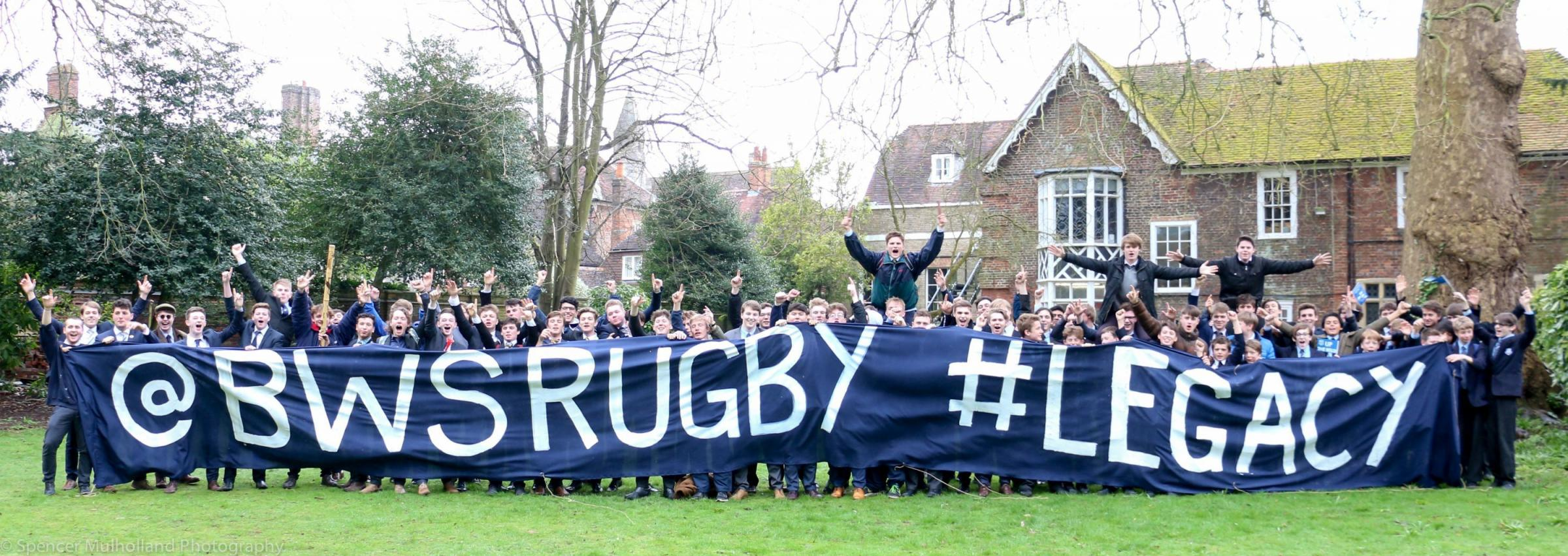 Bishop Wordsworth's pupils in high spirits before travelling to Twickenham to cheer on the Under 18s in the NatWest Schools Cup final. PIC SPENCER MULHOLLAND
