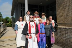 King Arthur Pendragon with supporters outside Salisbury Law Courts today