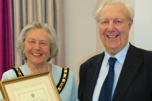 Neville Chard receiving the title of Honorary Freeman of Ringwood Town from the town mayor, Cllr Christine Ford, in 2010