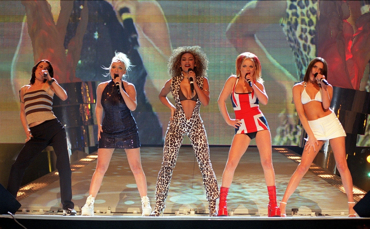 Library file dated 24/02/97 of the Spice Girls performing at the Brit Awards..