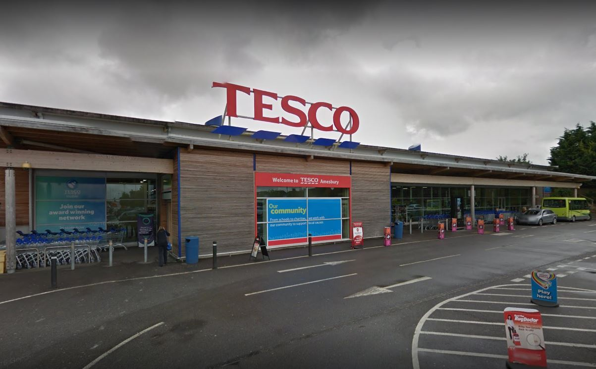 Tesco at London Road, Amesbury. Picture from Google Earth.
