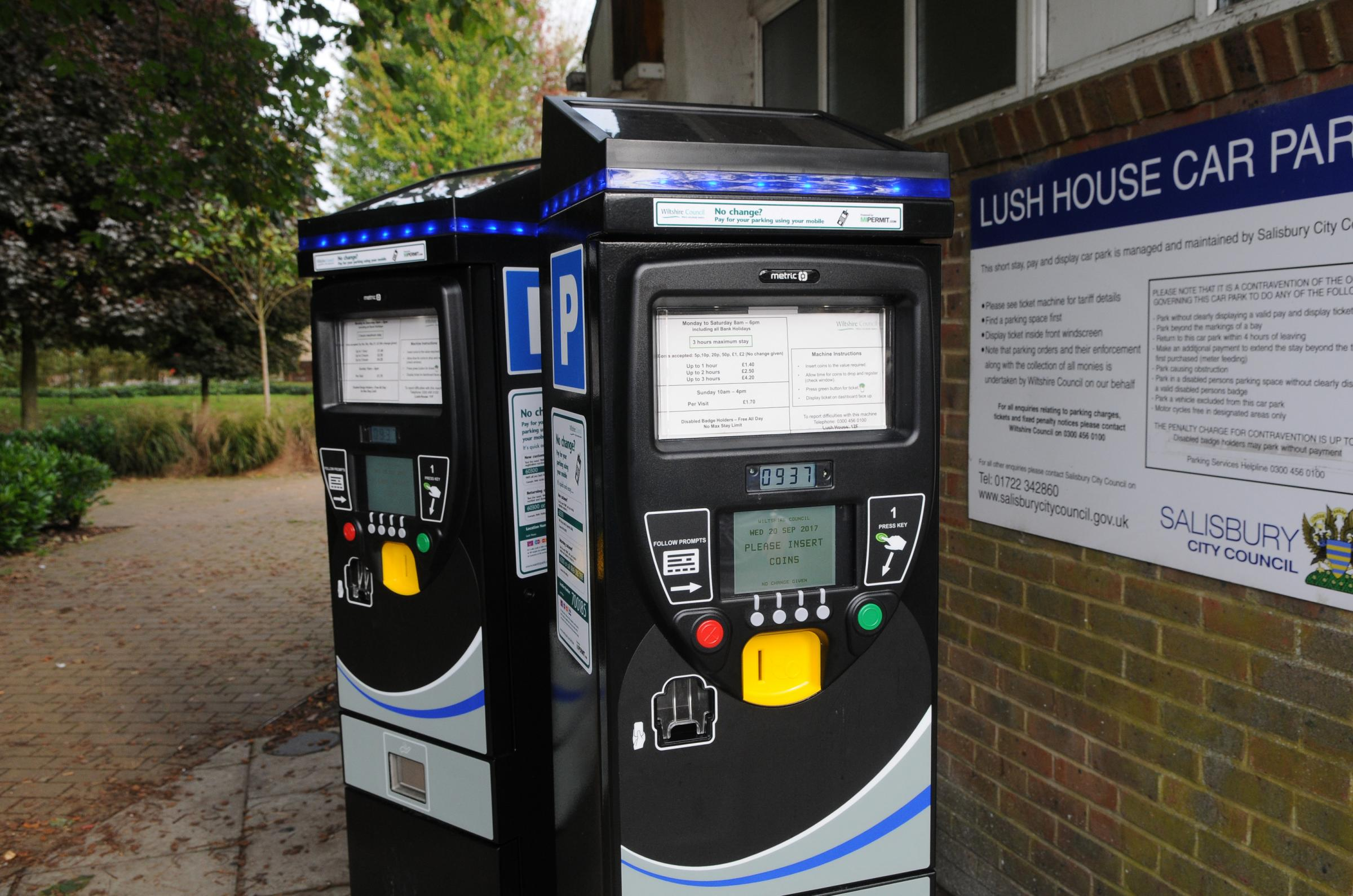 New parking meters at Lush House car park, Salisbury. DC8308P2..Picture by Tom Gregory.