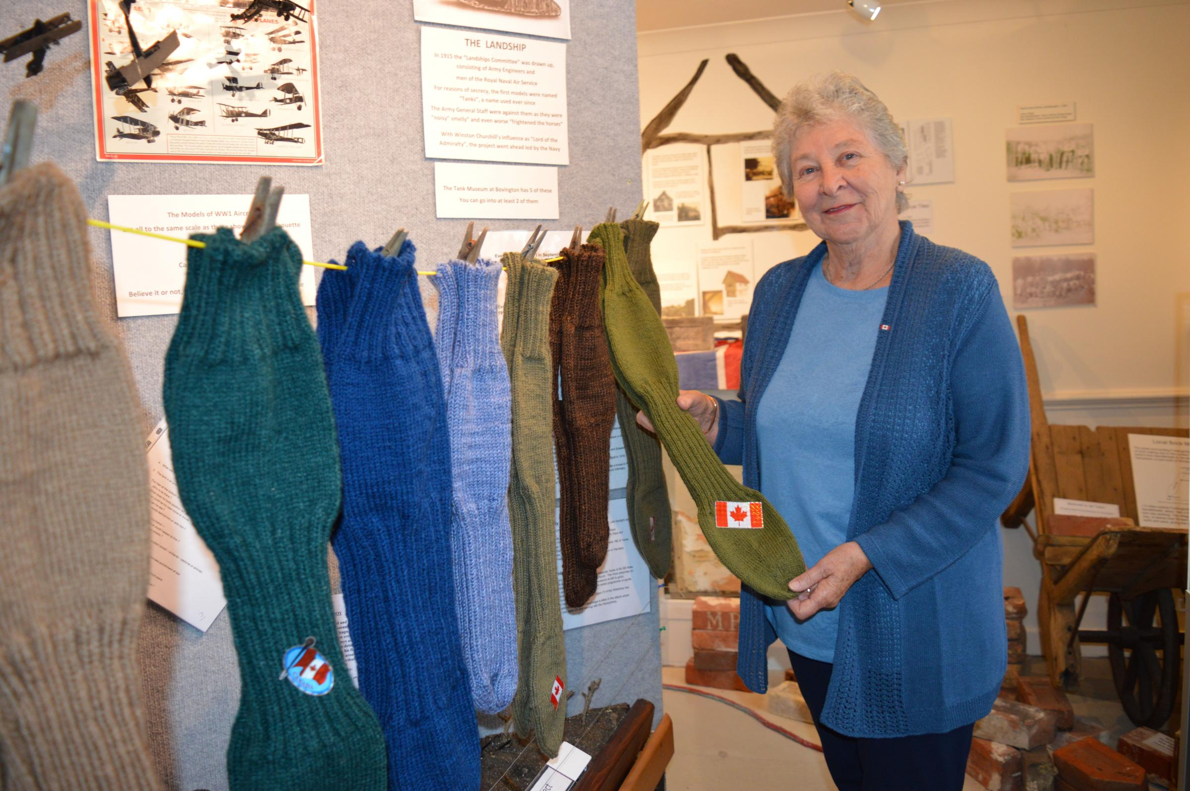 Ann Burtt with the socks made by her knitting group in North Gower, Canada for Fordingbridge Museum's First World War commemoration project. Picture by Katy Griffin