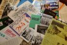 Leaflets for historic events at the Arts Centre – part of a nostalgic exhibition