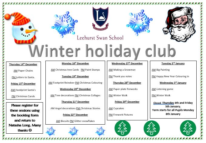 Leehurst Swan Winter Holiday Club 2017