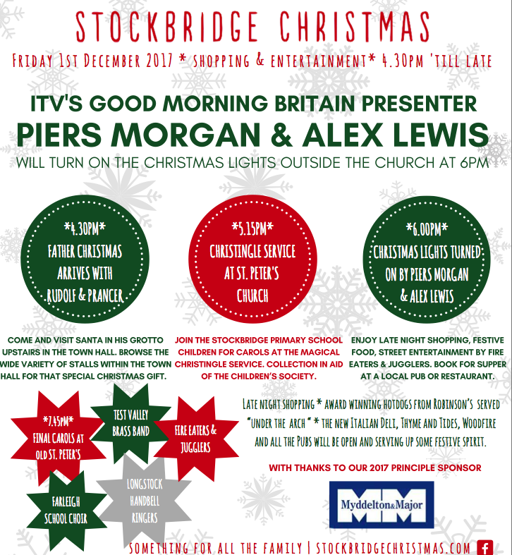 Stockbridge Christmas Event with  Piers Morgan & Alex Lewis to Switch on the  lights