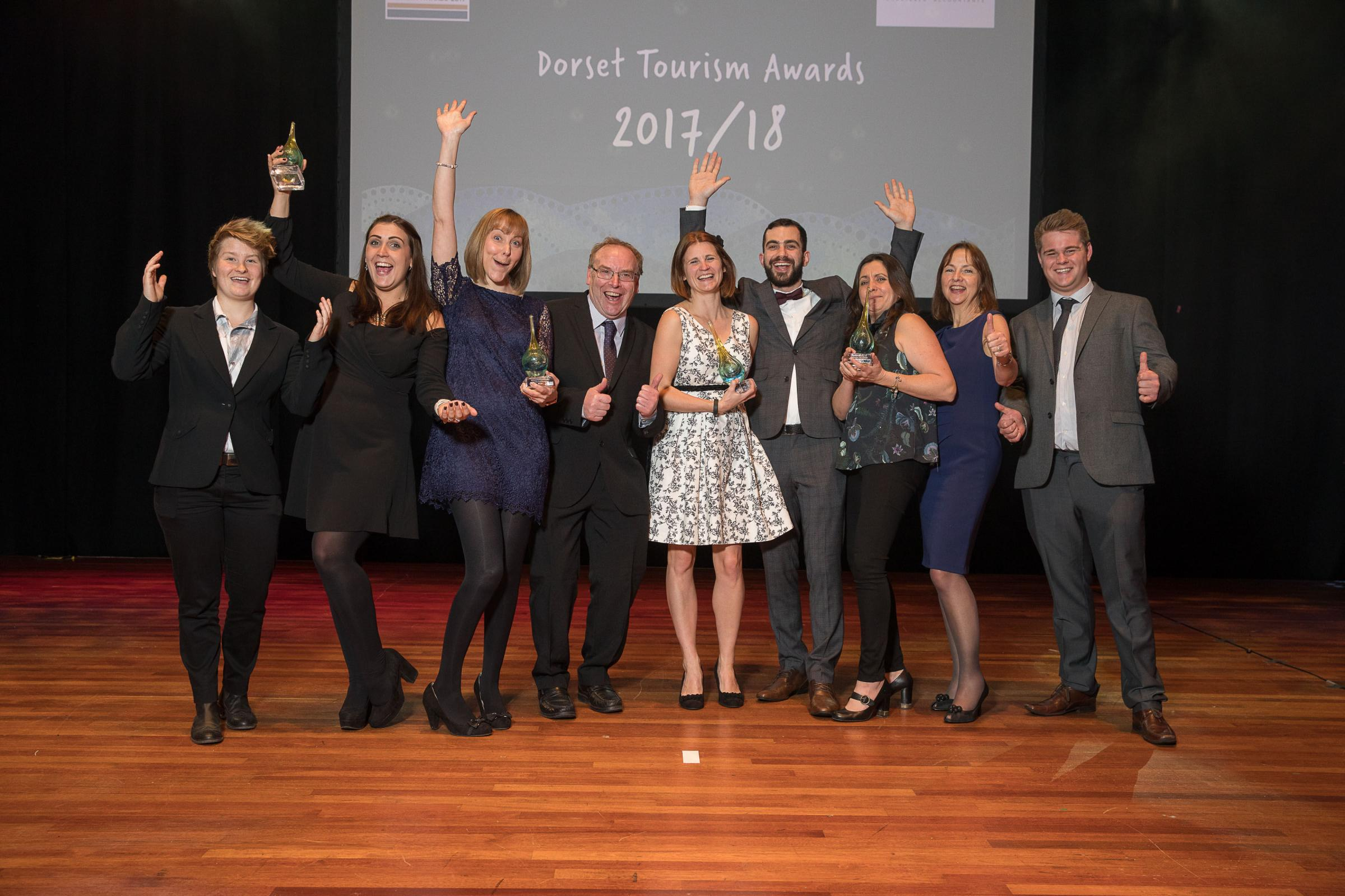 The Moors Valley County Park team at the Dorset Tourism Awards. Pictured Keeley Clayton, Mel Ewers, Jennifer Sutton, Doug King, Katie Davies, Karl Prince, Emma Reeks, Sally Norman and Ben Symes. Photo by Nick Williams Photography