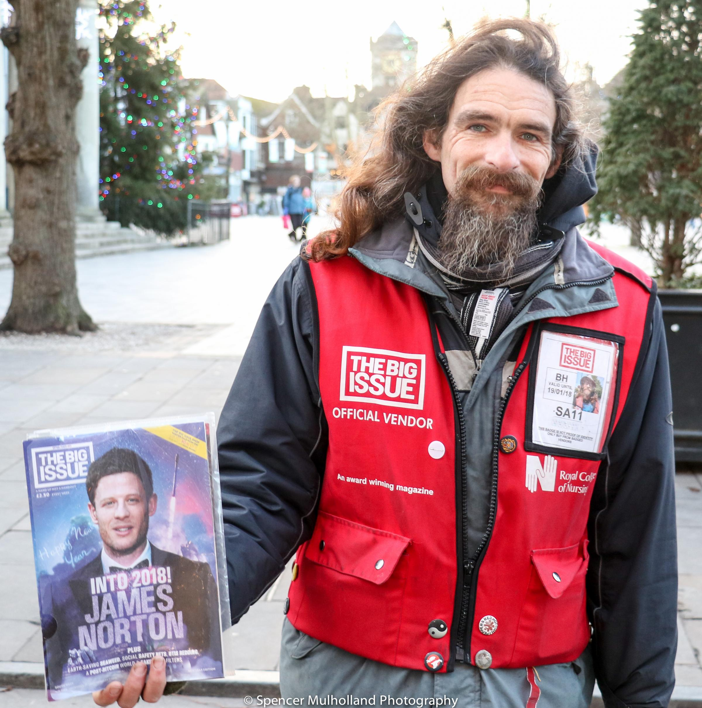 Big Issue seller Jim Pelham had all his possessions stolen before Christmas