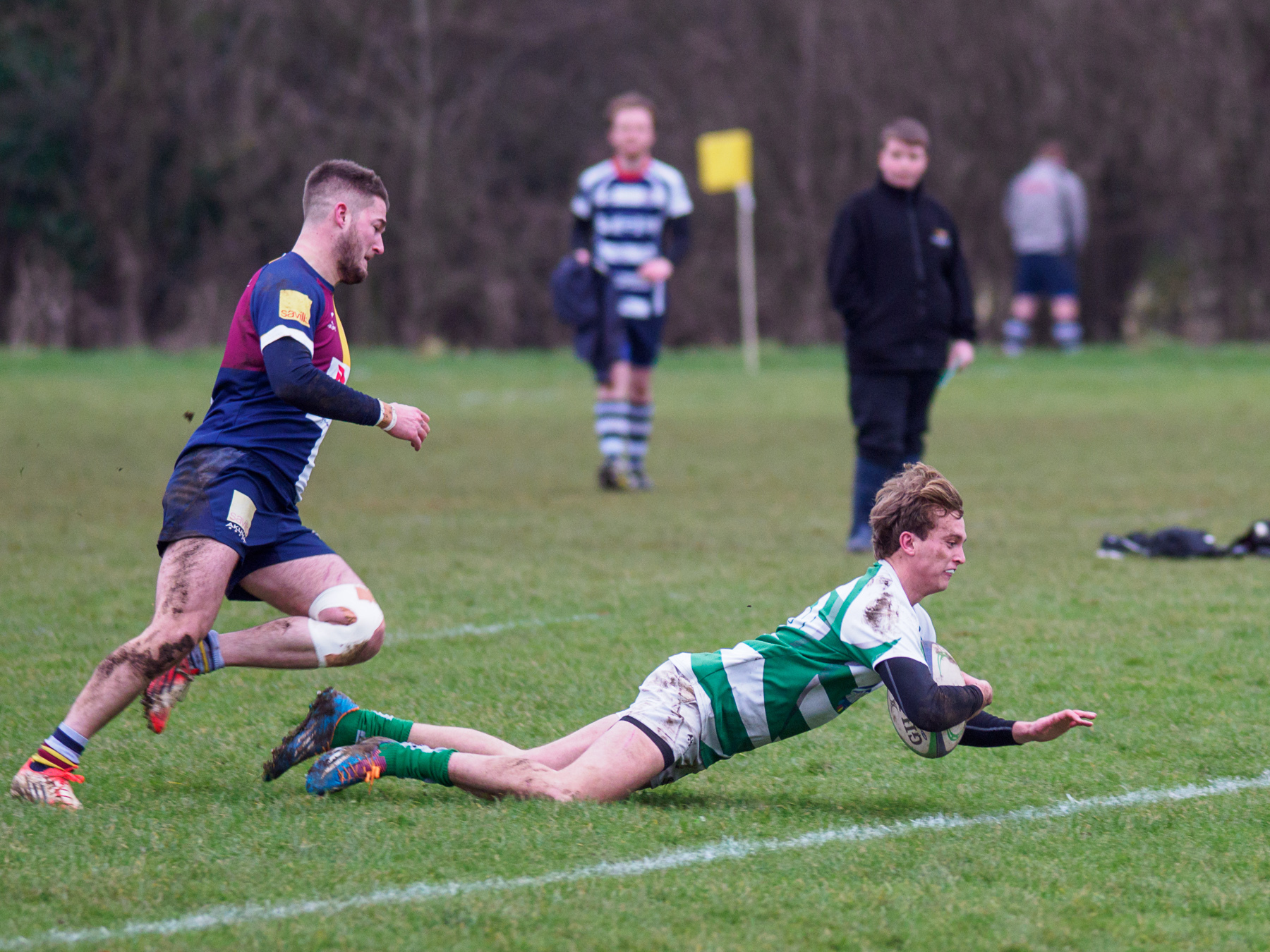 Fly-half Ollie Bowden divers over the line for Salisbury's first try