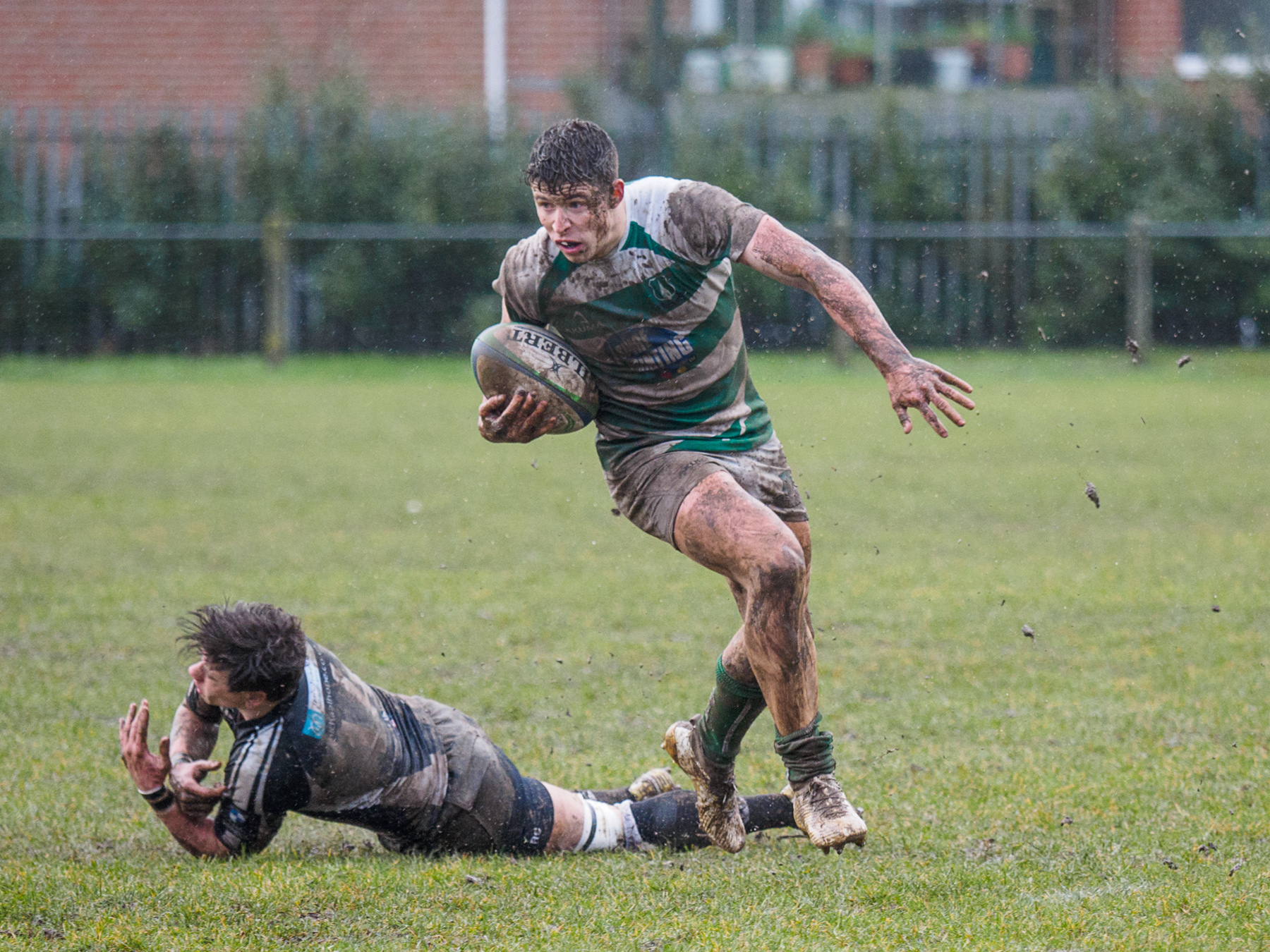 Try-scoring winger Dan Hammond leaves his tackler cutching at thin air