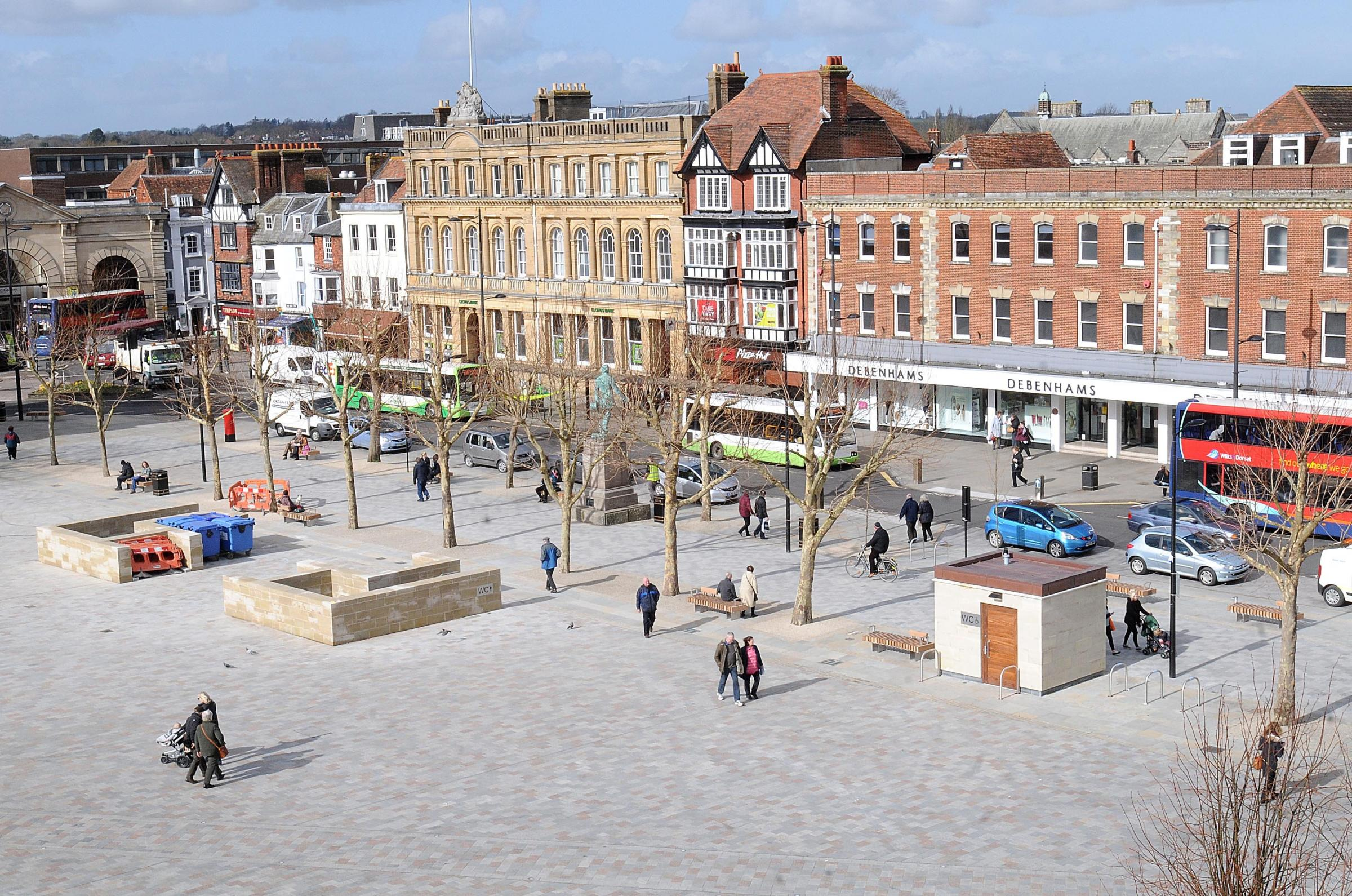 Salisbury Market square and Guildhall square, newly paved ....Picture by Tom Gregory..26/02/2014..DC4656P04.