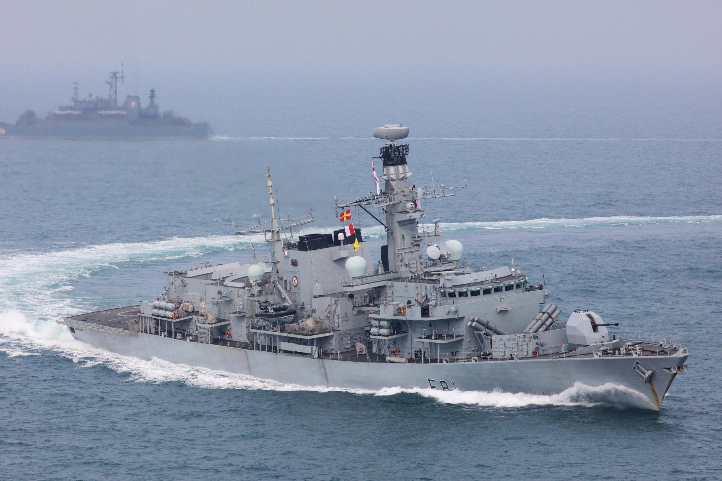 HMS Sutherland (foreground) is to return from the Pacific via the South China Sea, which is subject to territorial disputes between China and its neighbours (MoD/PA)