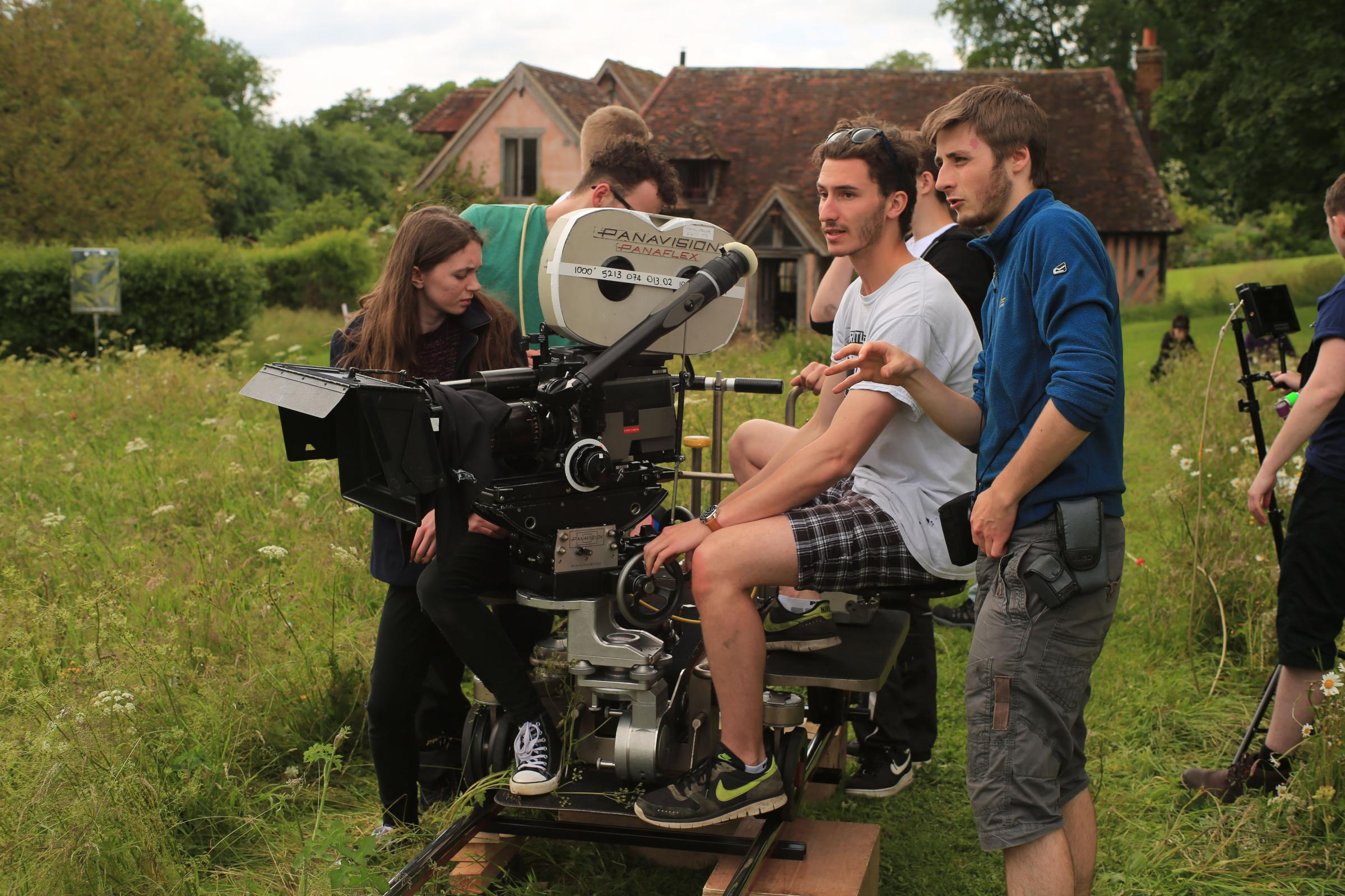 Wiltshire College students and graduates Georgia Moore, Nick Milligan and Adam Pickford, on location filming The Manor