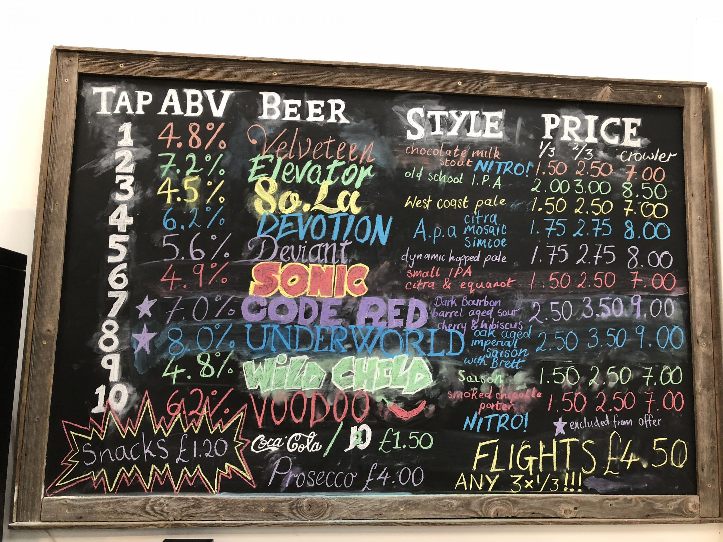 Beers on offer at Dark Revolution Brewery