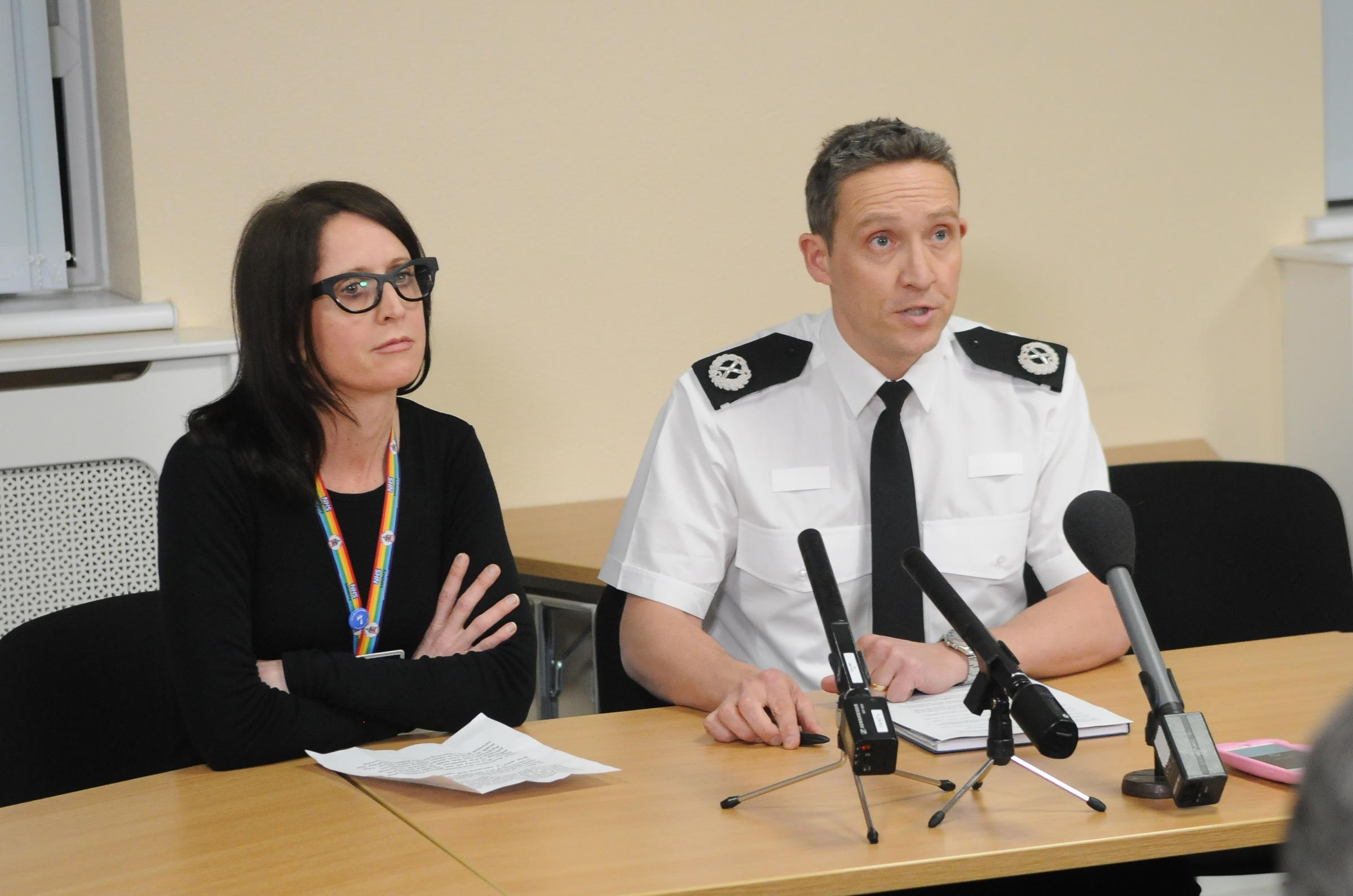 Hospital Chief Executive Cara Charles-Barks and Temporary Assistant Chief Constable Craig Holden hold a press conference regarding the major incident in Salisbury