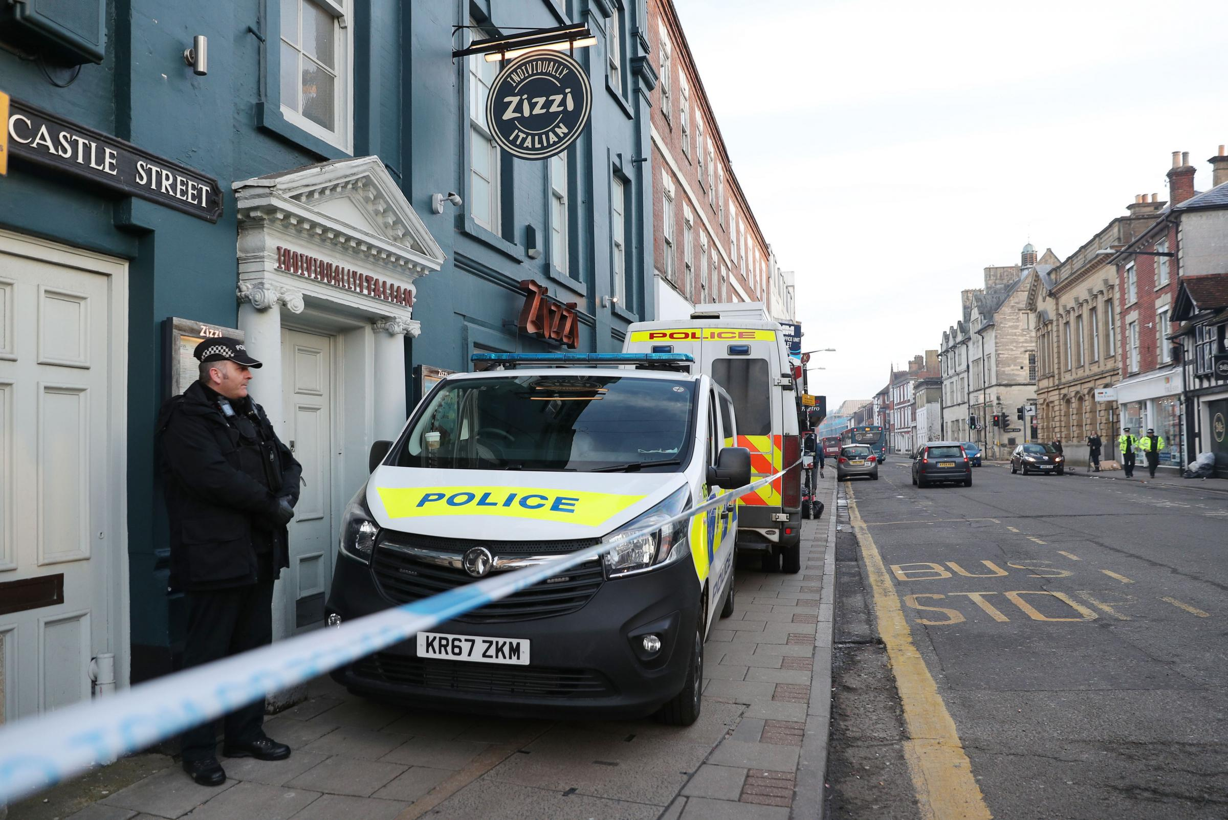 Police outside the Zizzi restaurant in Salisbury near to where former Russian double agent Sergei Skripal was found critically ill by exposure to an unknown substance. Photo by Andrew Matthews/PA Wire