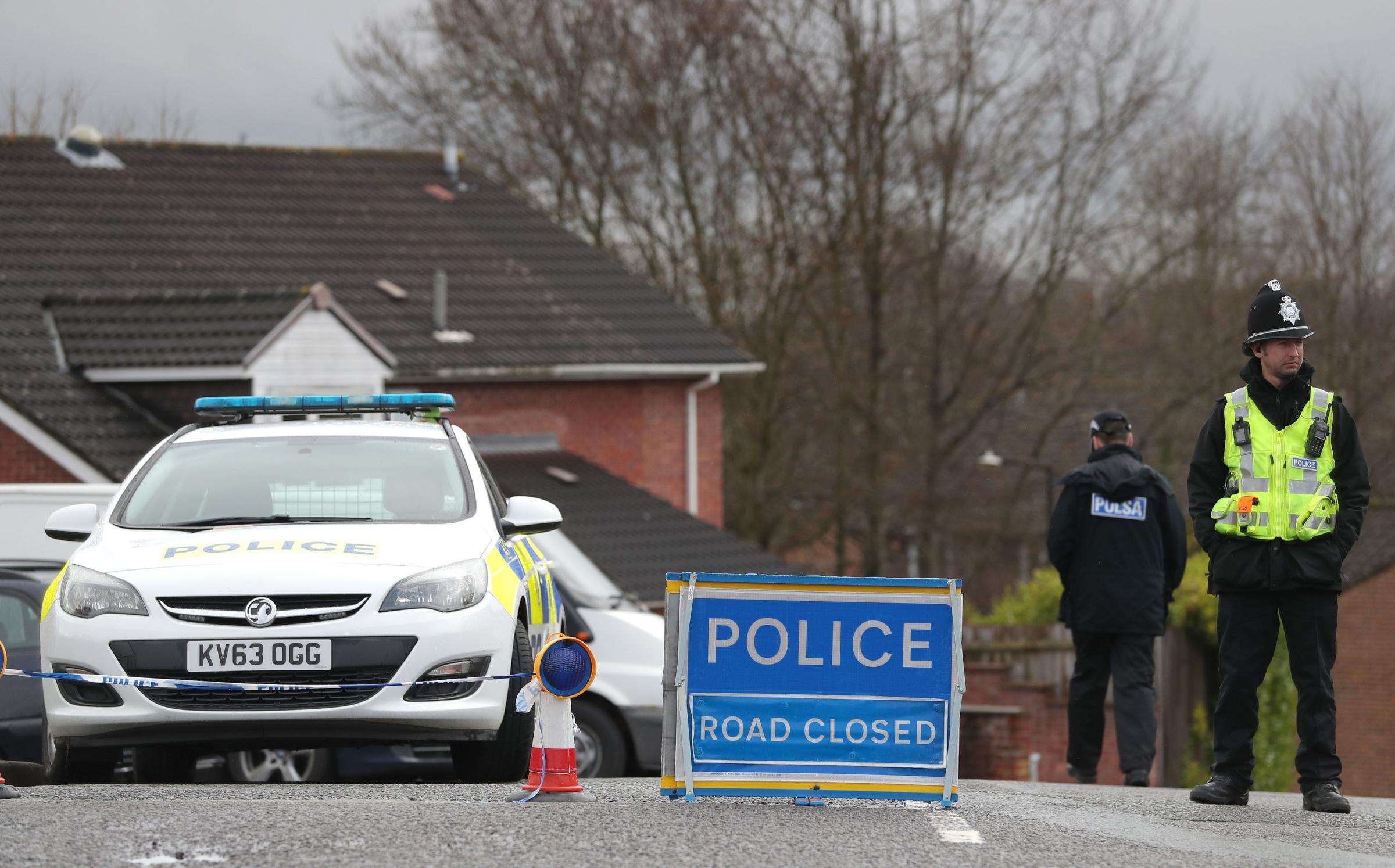 A police cordon remains in place on Christie Miller road in Salisbury, near to the home of Sergei Skripal