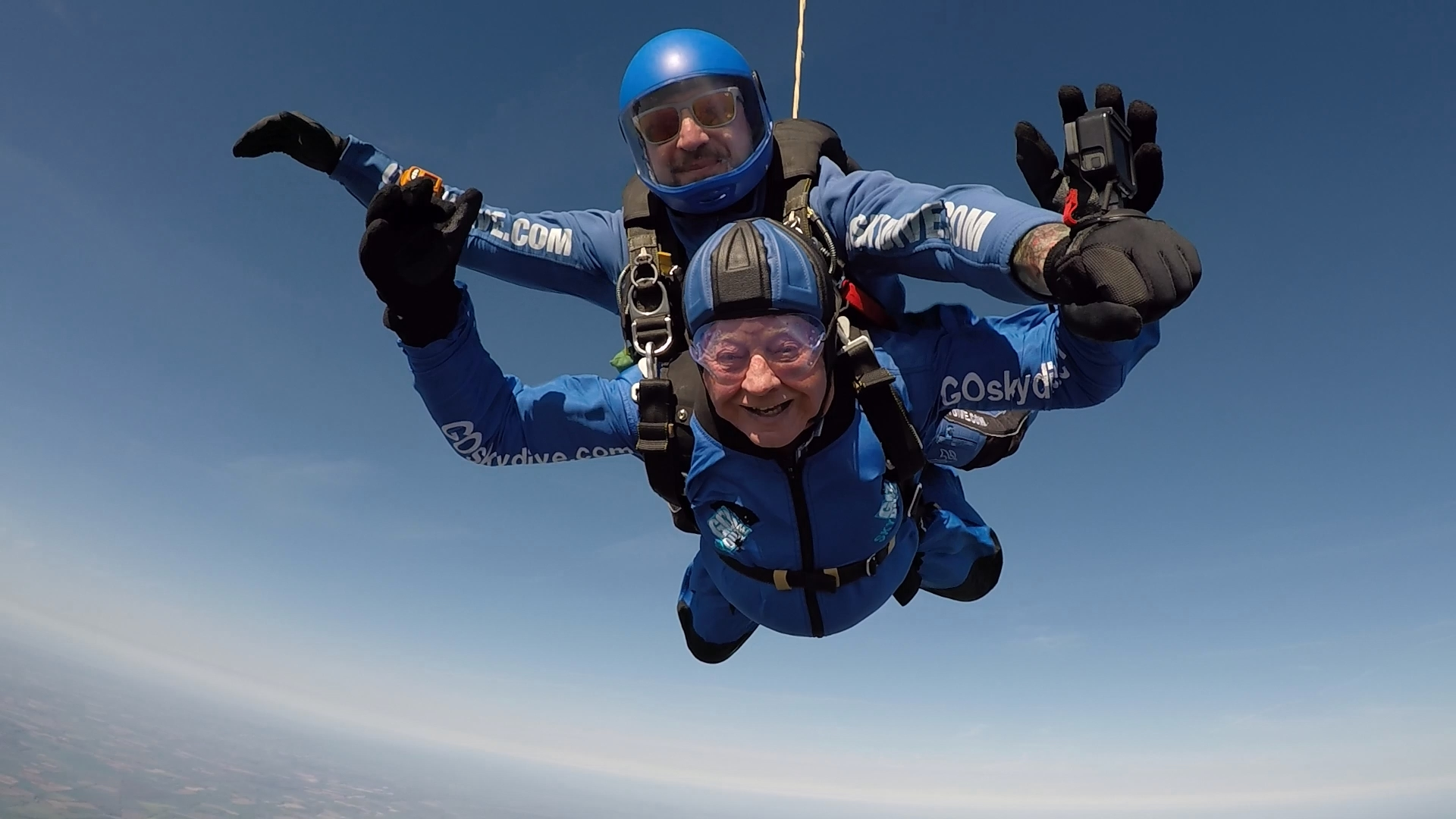 John Read during his tandem skydive                          Picture by GoSkydive