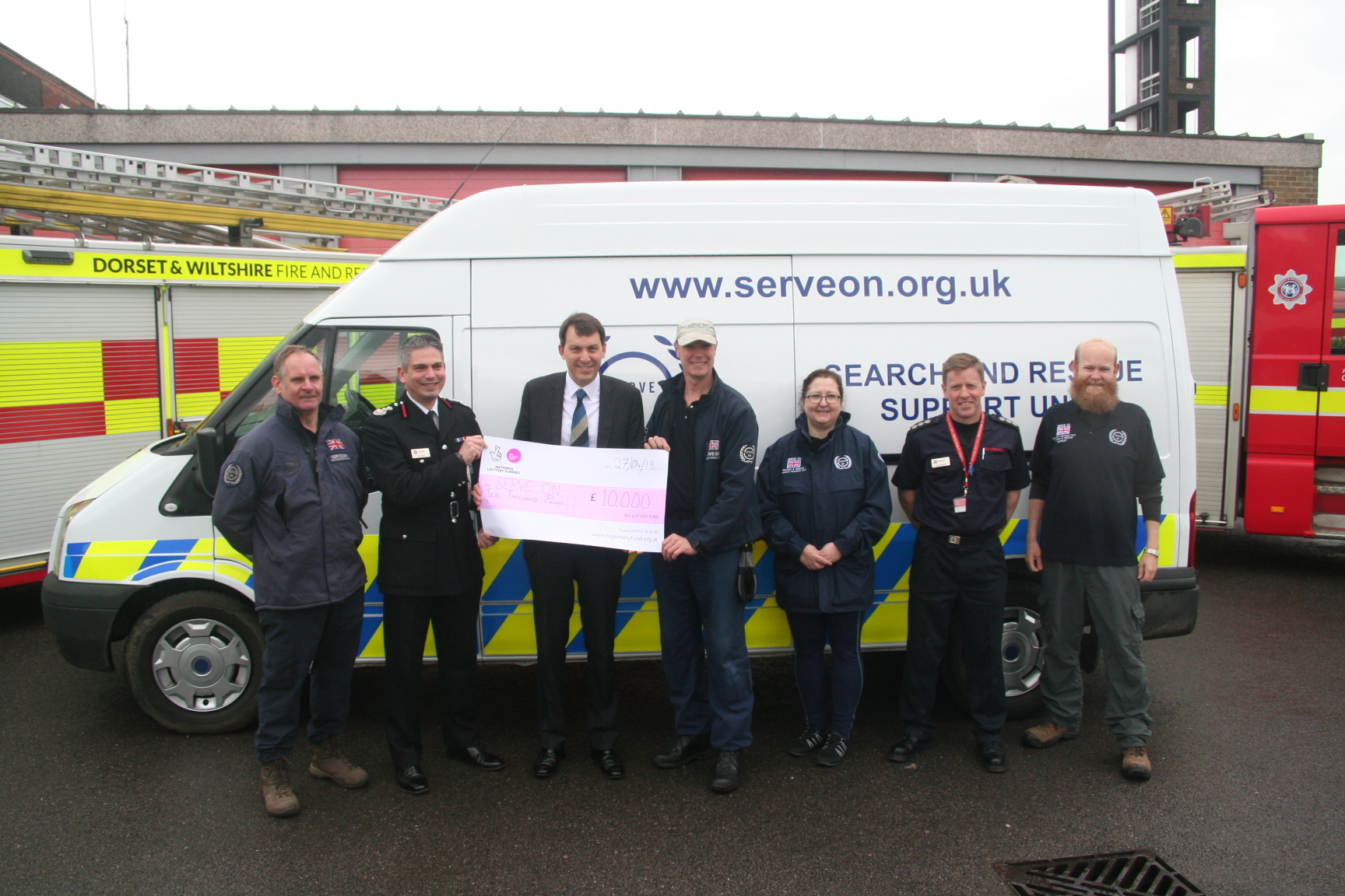 John Glen with members of Serve On and the fire service