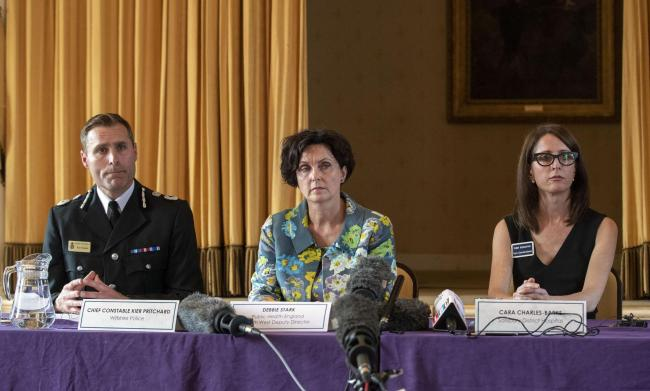 Wiltshire Police Chief Constable Kier Pritchard, Public Health England South West Deputy Director Debbie Stark and Cara Charles-Barks, Chief Executive of Salisbury District Hospital at a press conference in Amesbury. Steve Parsons/PA Wire