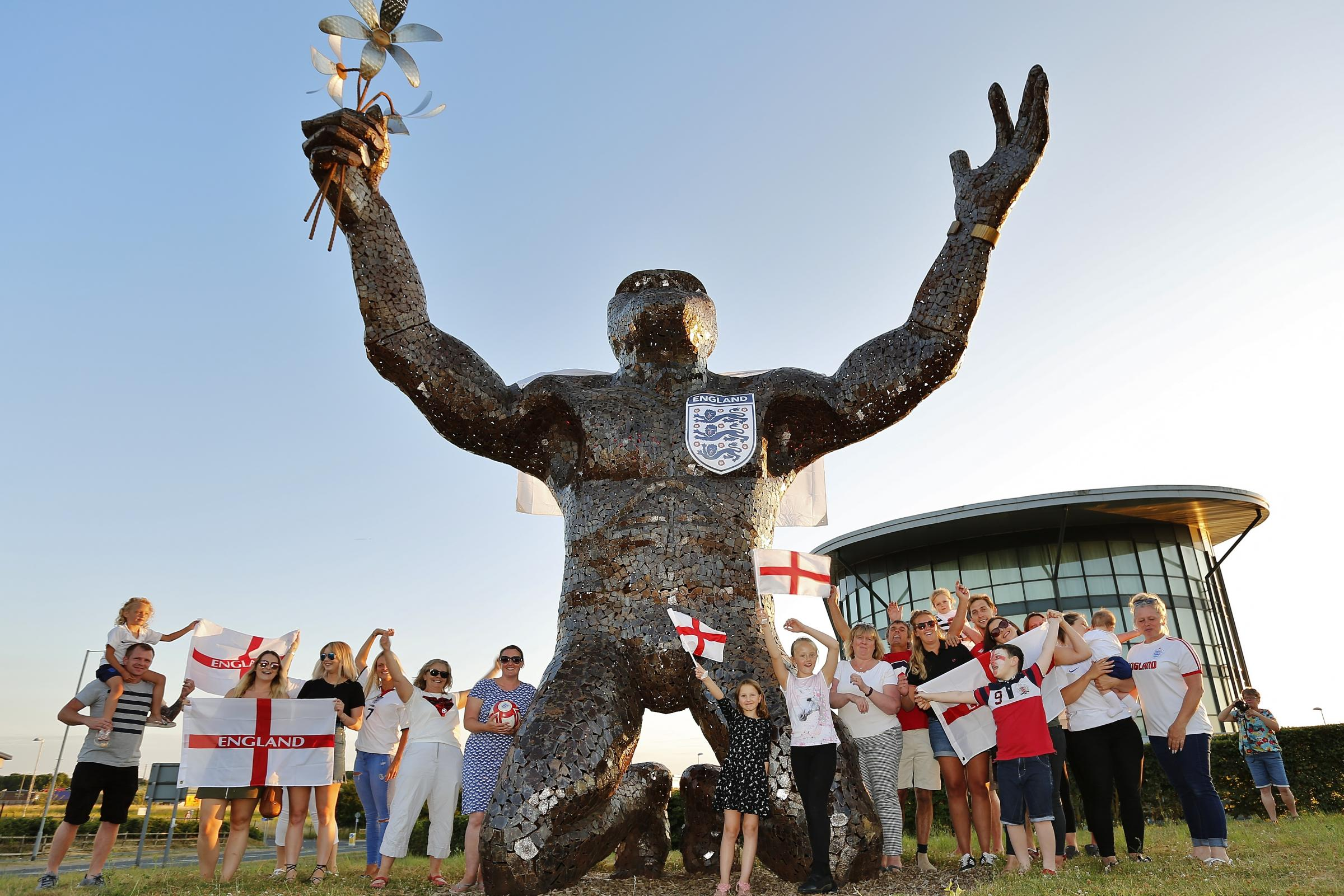 Come on England! The Amesbury Ancestor supports his team in the World Cup semi-final. Picture by Donald Capewell