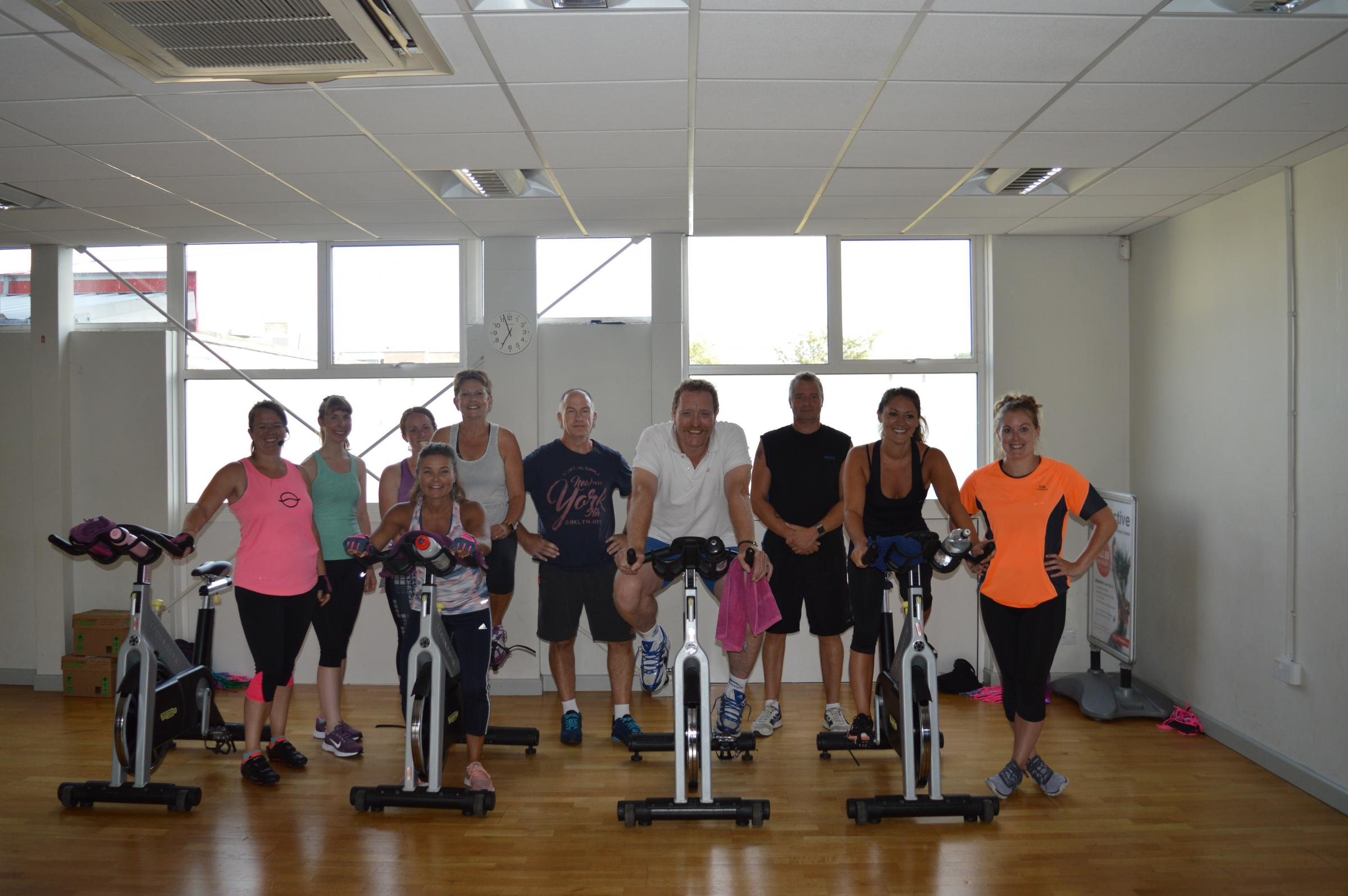 The spin class which took place in Durrington on Monday night to raise money and awareness for John Winskill
