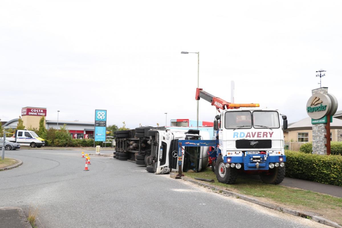 lorry overturns near solstice park salisbury journal