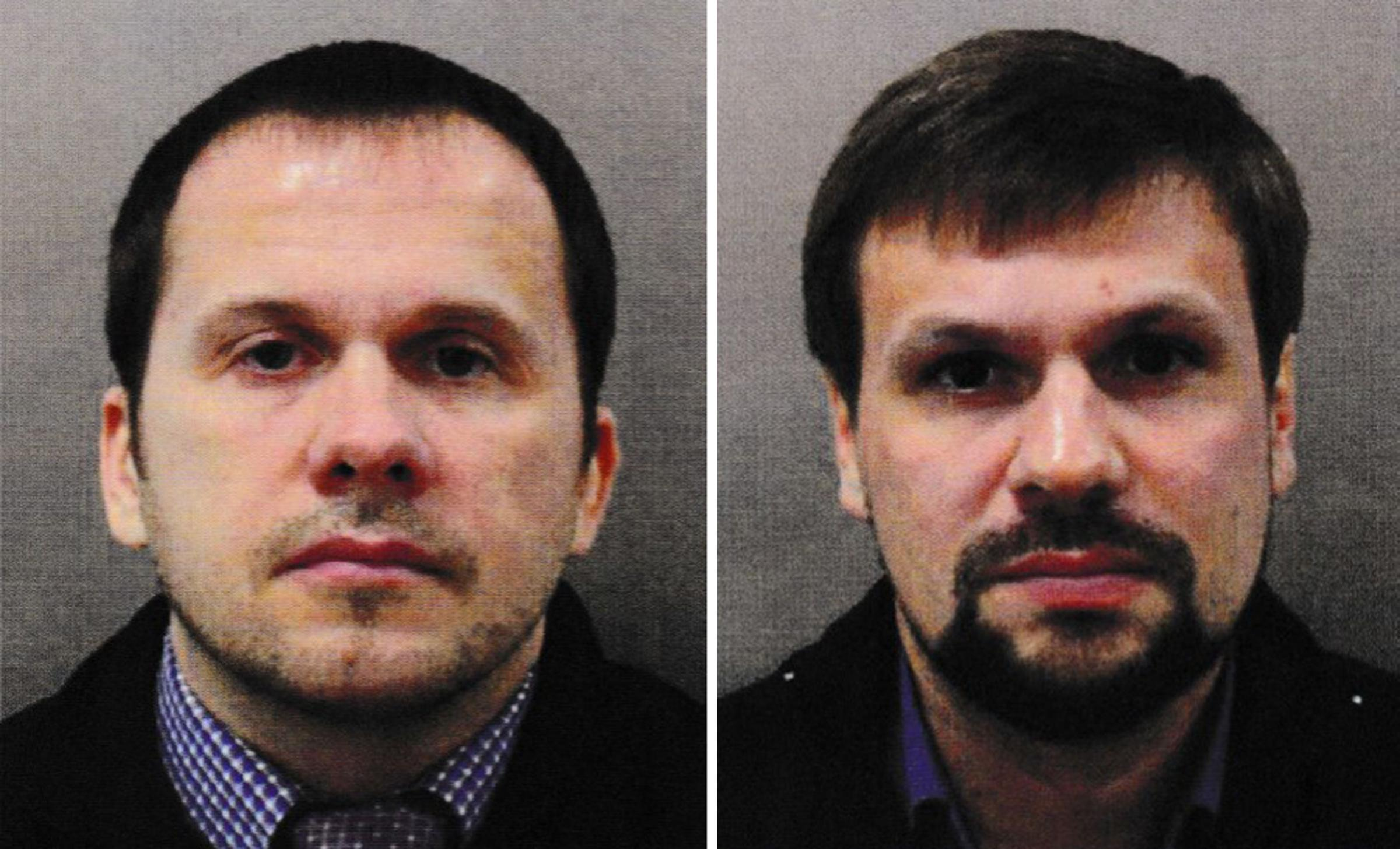 "Undated handout file photo issued by the Metropolitan Police of Alexander Petrov (left) and Ruslan Boshirov. The suspects in the Salisbury nerve agent attack have told the Kremlin-funded RT channel that they wanted to visit the ""wonderful town"""