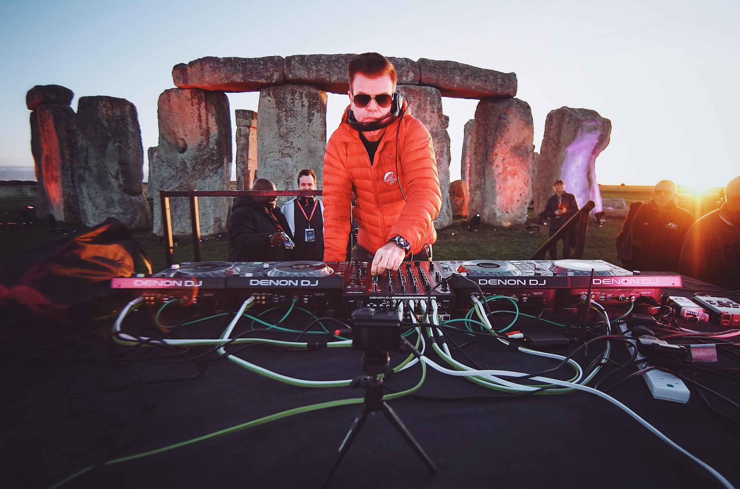 DJ Paul Oakenfold records album 'Live at Stonehenge', in historic first ever performance within the stones at the UK's Wonder of The World, Stonehenge.  Copyright, Alon Shulman, photographer Anton Nelson / AHTOH