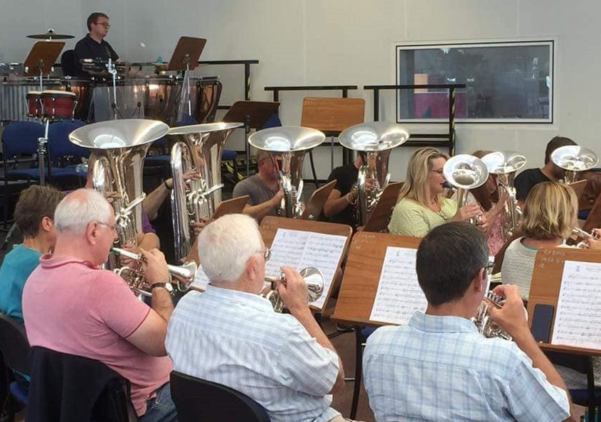 Shrewton Silver Band practice at Tidworth Garrison band room earlier this month