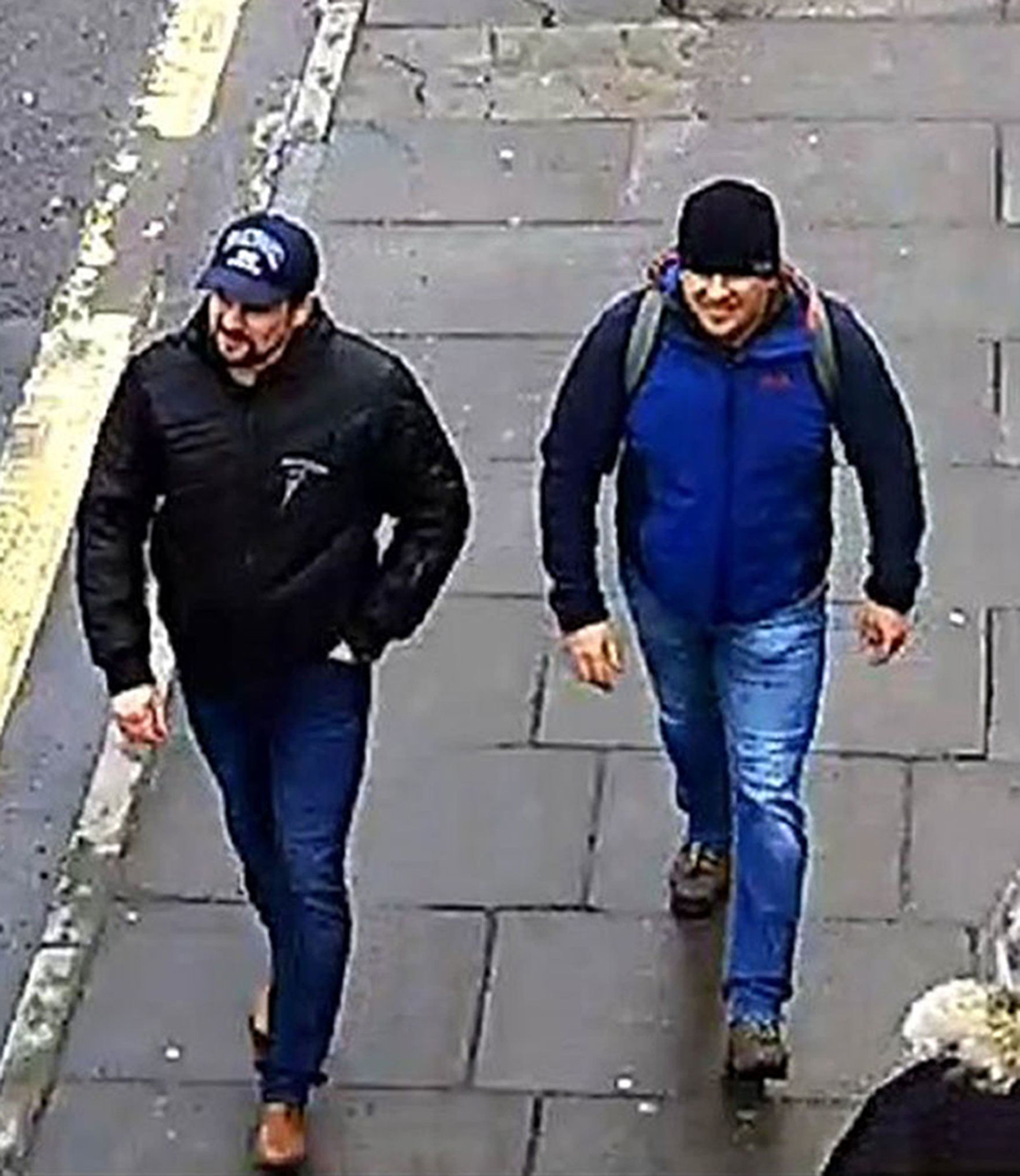 Handout CCTV image issued by the Metropolitan Police of Russian Nationals Ruslan Boshirov and Alexander Petrov on Fisherton Road, Salisbury at 13:05hrs on March 4 2018. The war of words with Russia following the Novichok attack has escalated, with a senio