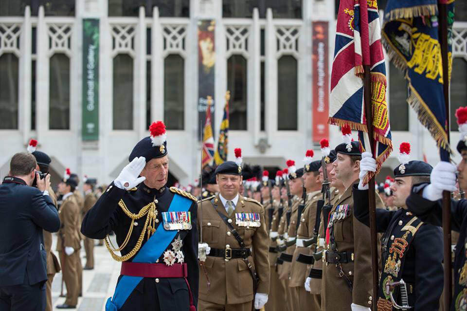 The Duke of Kent salutes the Colours during his inspection