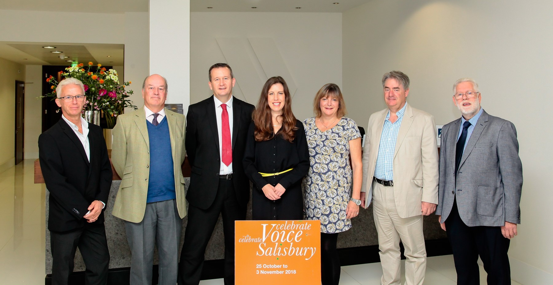 Celebrate Voice sponsors and supporters: John Rose, Bertie Gore Browne (GBIM), Keith Phillimore (Smith & Williamson), Lynsey Docherty (Celebrate Voice), Jane Kennedy (Wiltshire Life Magazine), Stephen Oxley (Wilsons), Steve Godwin (Salisbury BID)    P