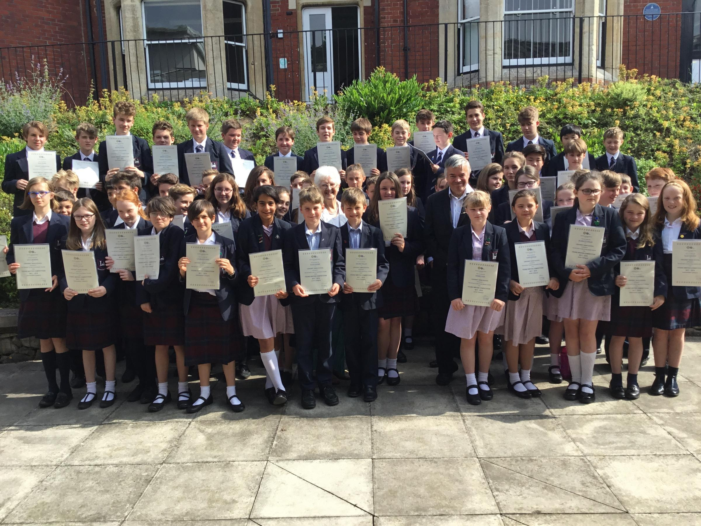 Leehurst Swan School pupils with Young Writer Competition certificates