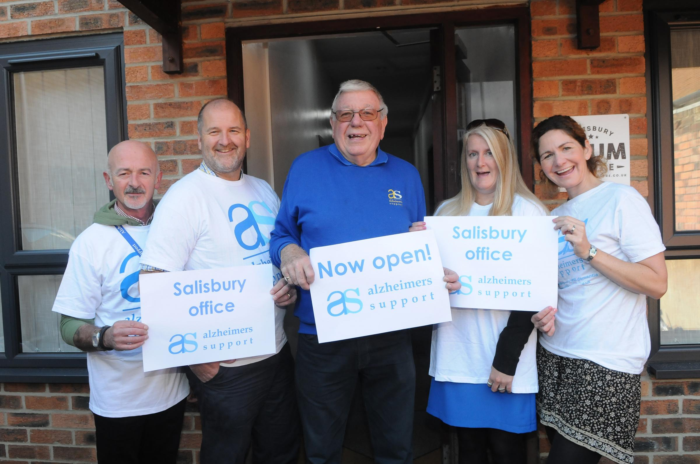The Alzheimers Support team David Burton, Steve Slater, Harry Theobald, Amanda Smith and Kate Western outside their new office at Scotts House, Salisbury DC8814P1 Picture by Tom Gregory.