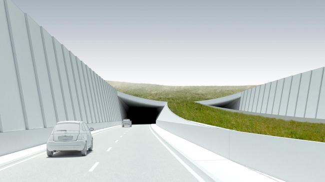 An artist's impression of the proposed dual-carriageway tunnel for the A303
