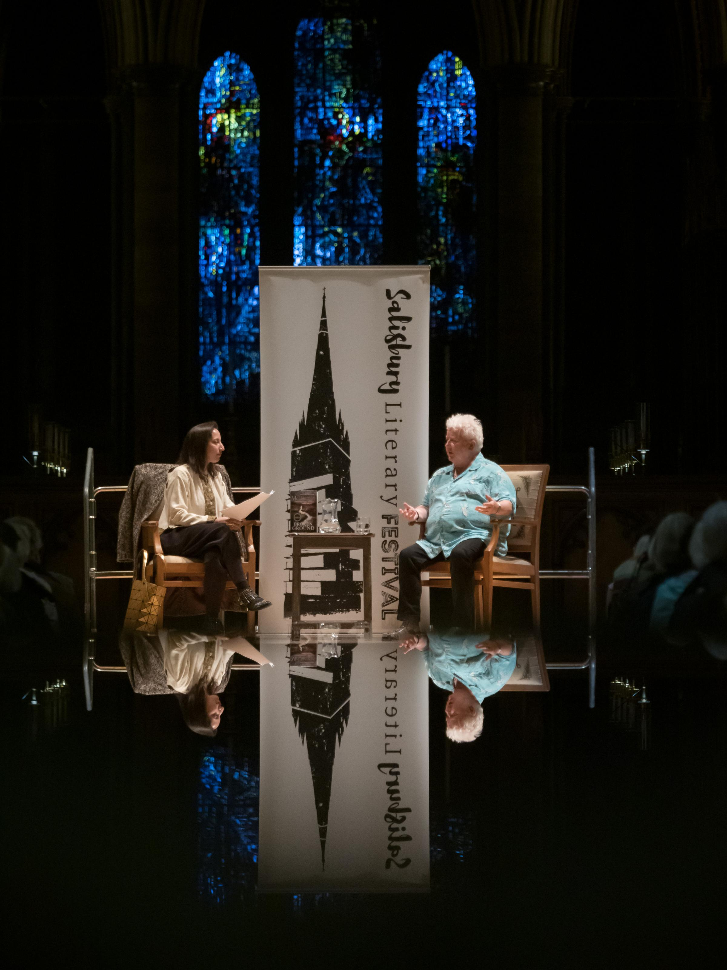 Val McDermid in conversation with Bidisha at Salisbury Cathedral. Photo by Ash Mills Photography