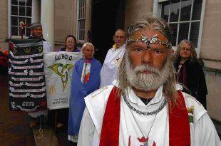 King Arthur Pendragon and supporters outside Salisbury's Crown Court